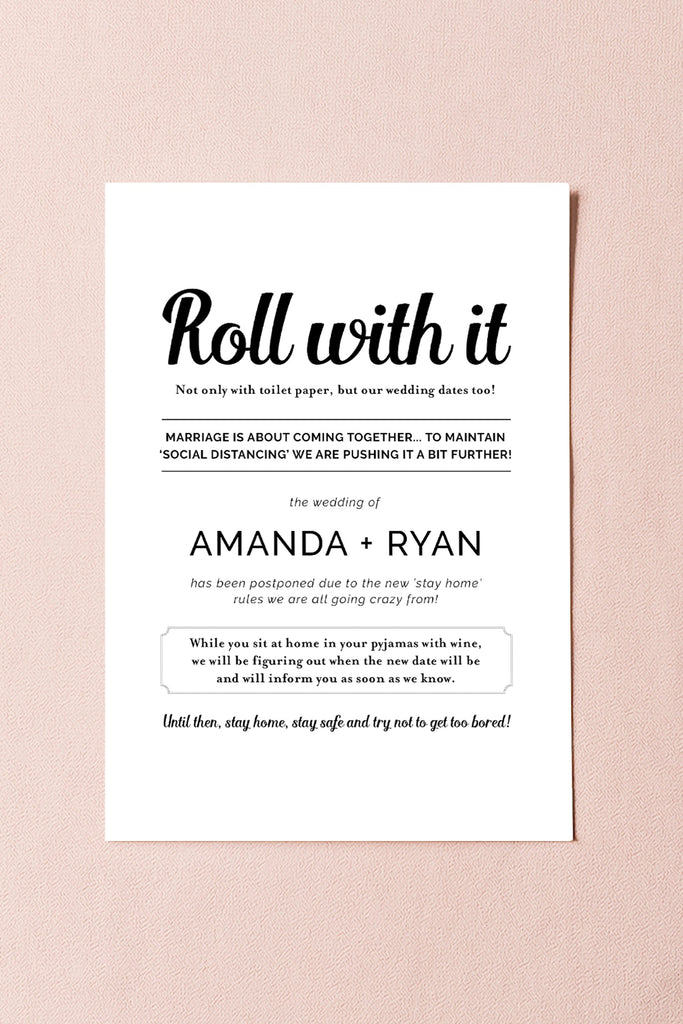 Hilarious Postponement Card for Weddings due to Covid-19 - Printable Template