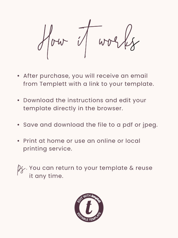 Modern & Minimalist Wedding Change The Date Printable Template Instant Download Templett PDF