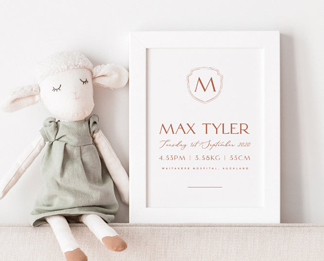 Personalised Baby Birth Details & Announcement Card