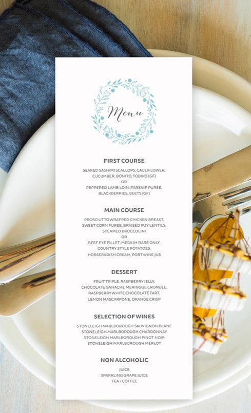 Beach Floral Wedding Menu Card Printable Template Instant Download PDF