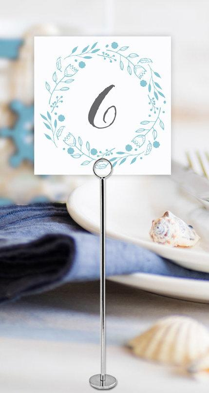 Beach Floral Wedding Table Number Printable Template Instant Download PDF