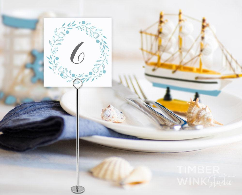Beach Wedding Table Number Printable Template