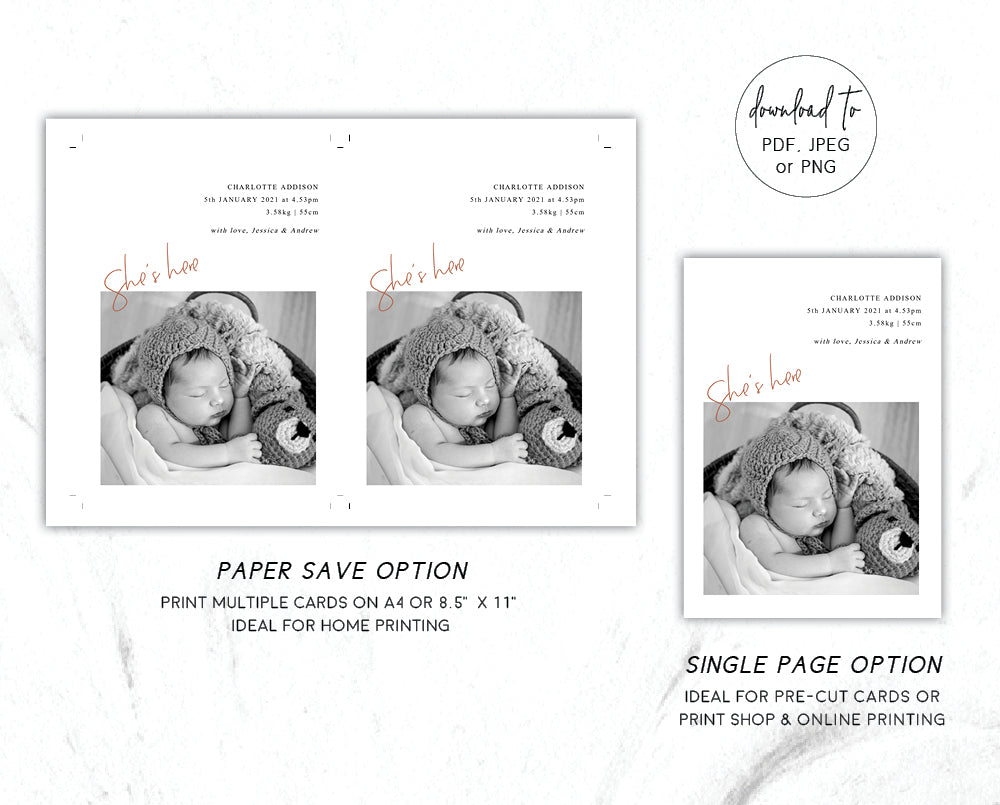 Modern Baby Arrival Announcement Card Template