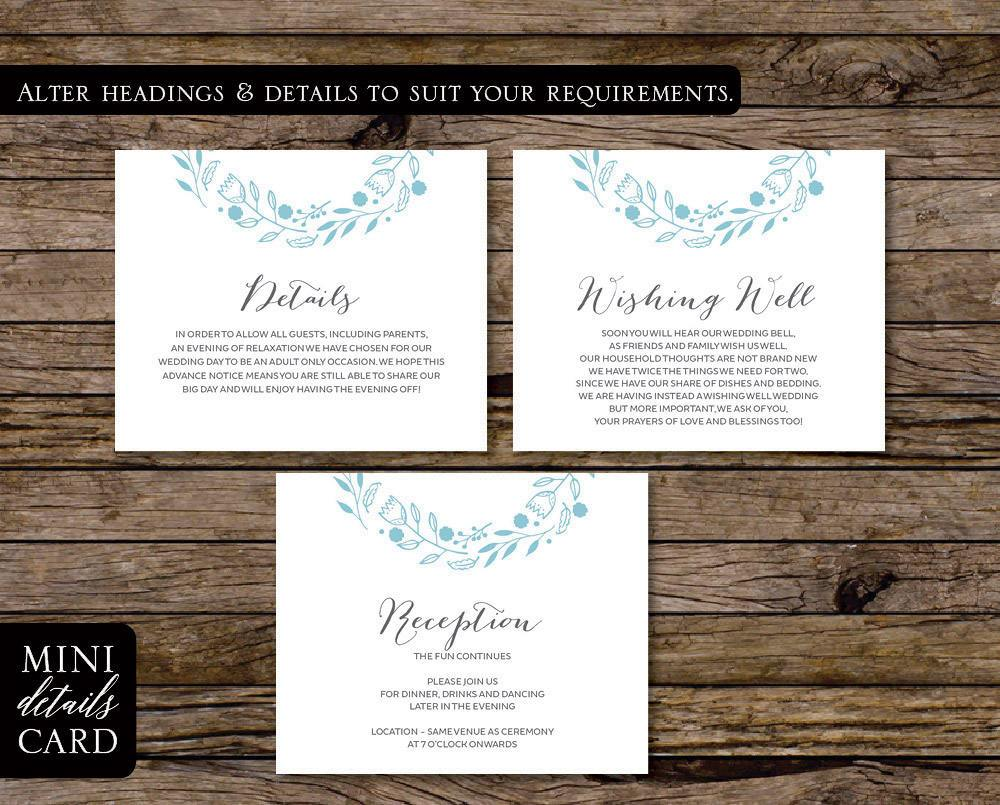 Blue Beach & Floral Wedding Enclosure/Details Card Printable Template Instant Download PDF