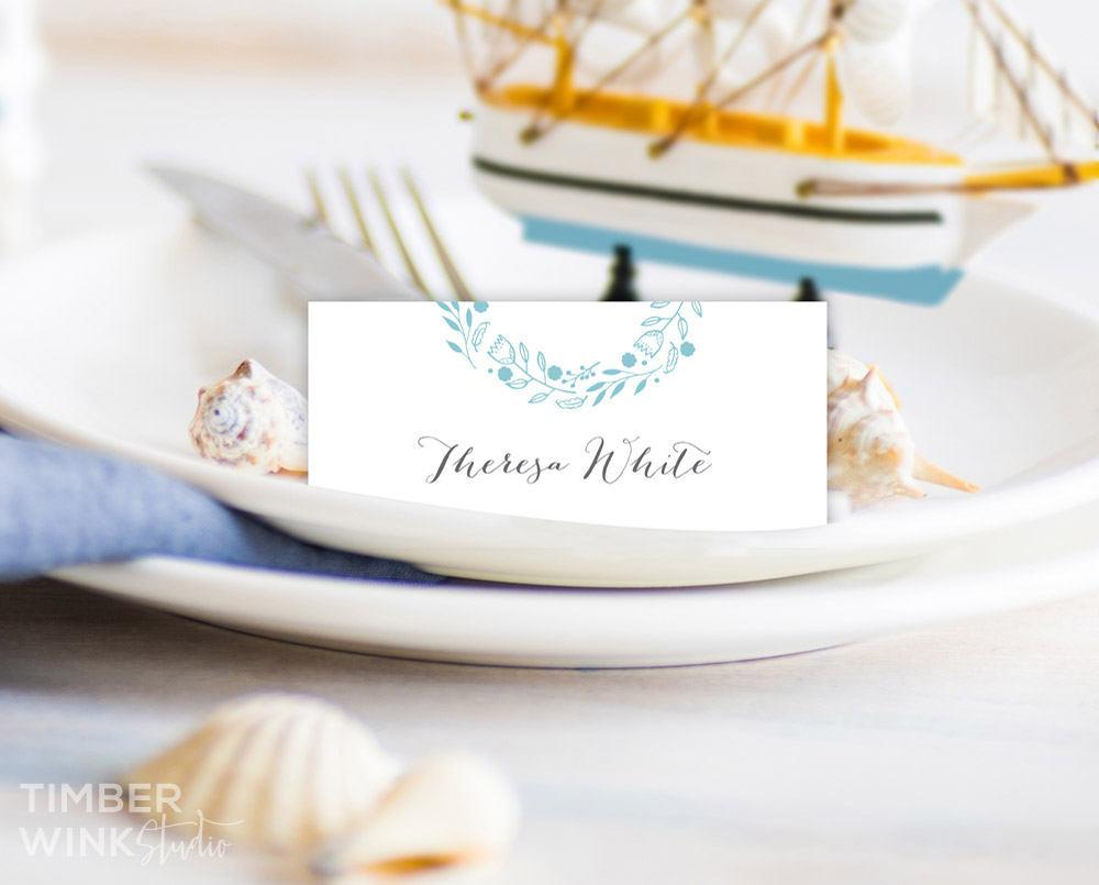 Blue Beach Floral Wedding Place Card Printable Template Instant Download PDF