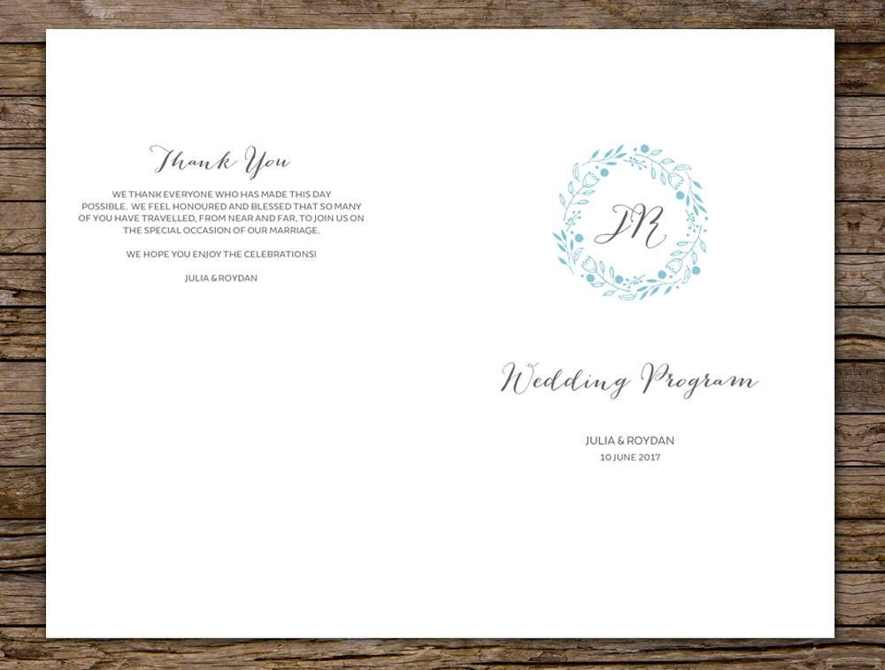 Beach Wedding Program Printable Template Instant Download