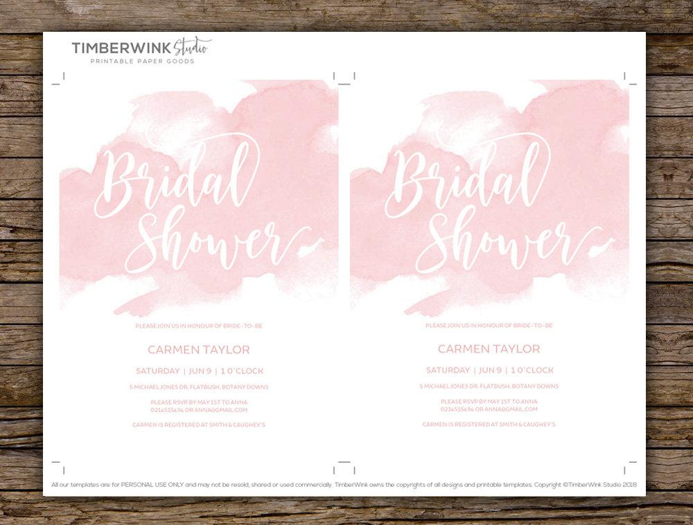Blush Pink Bridal Shower Invitation Printable Template Instant Download PDF