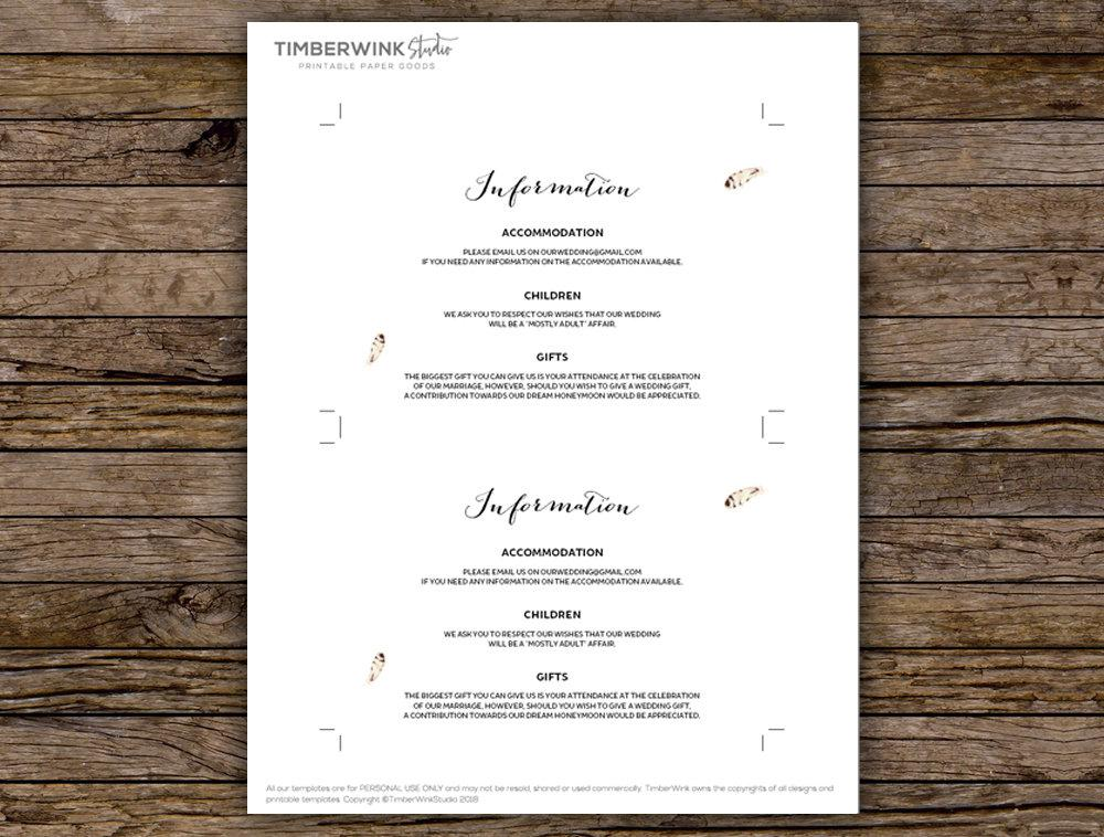 Bohemian Marsala Floral Wedding Enclosure/Details Card Printable Template Instant Download PDF