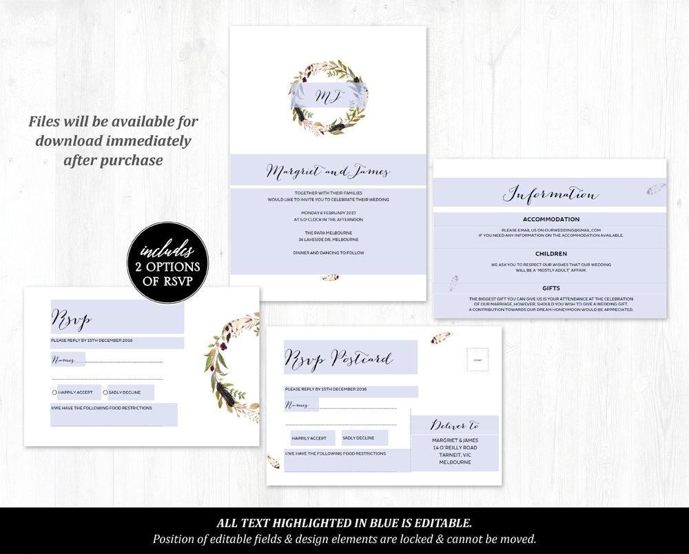 Bohemian Marsala Floral Wedding Invitation Printable Template Instant Download PDF