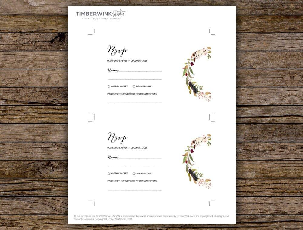 Bohemian Marsala Floral Wedding RSVP Card Printable Template Instant Download PDF