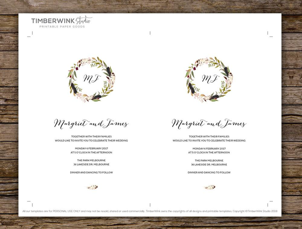 Boho Marsala Floral Wedding Invitation Printable Template Instant Download PDF