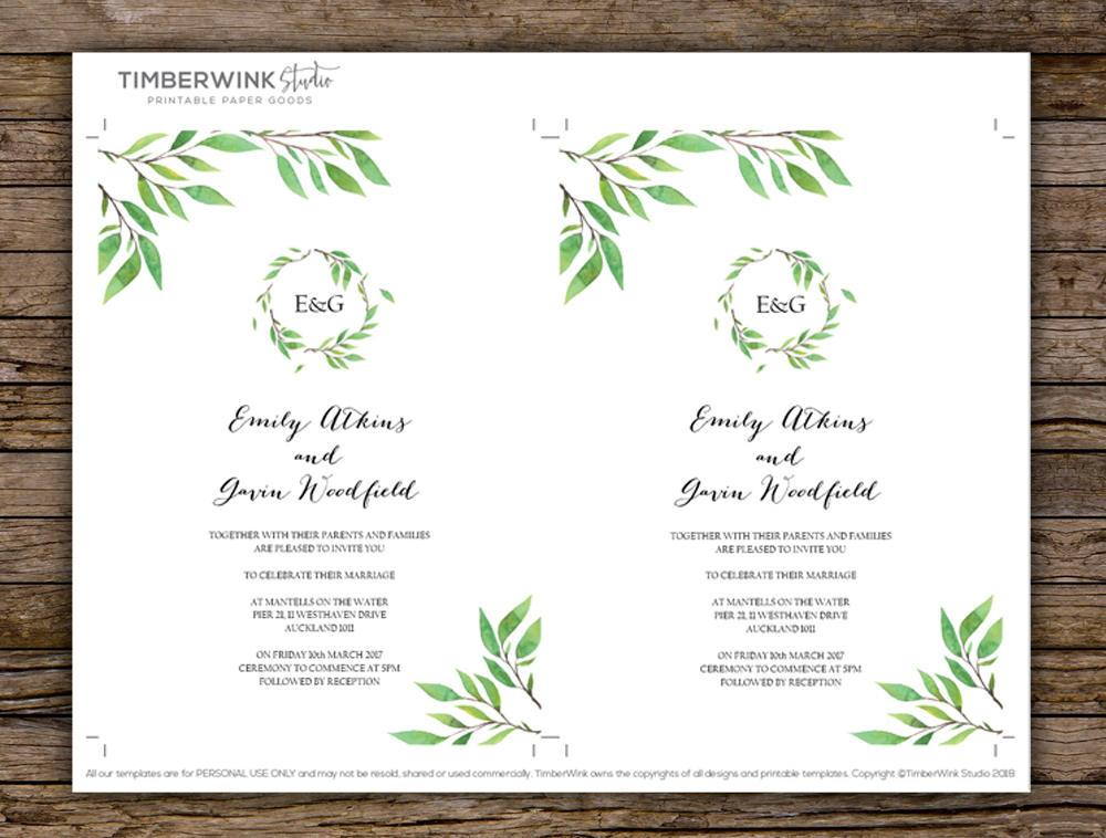Botanical Green Leaf Wedding Invitation Printable Template Instant Download PDF