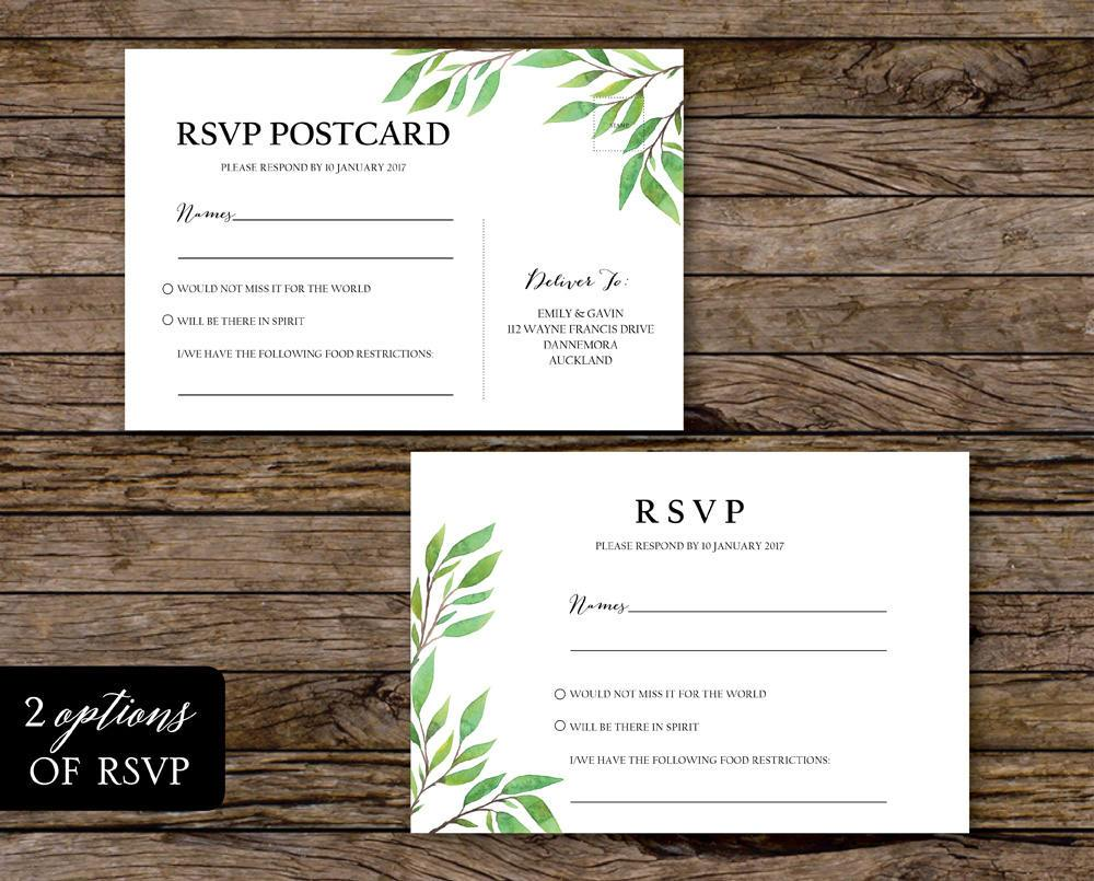 Botanical Greenery Wedding Invitation Set Printable Template Instant Download PDF