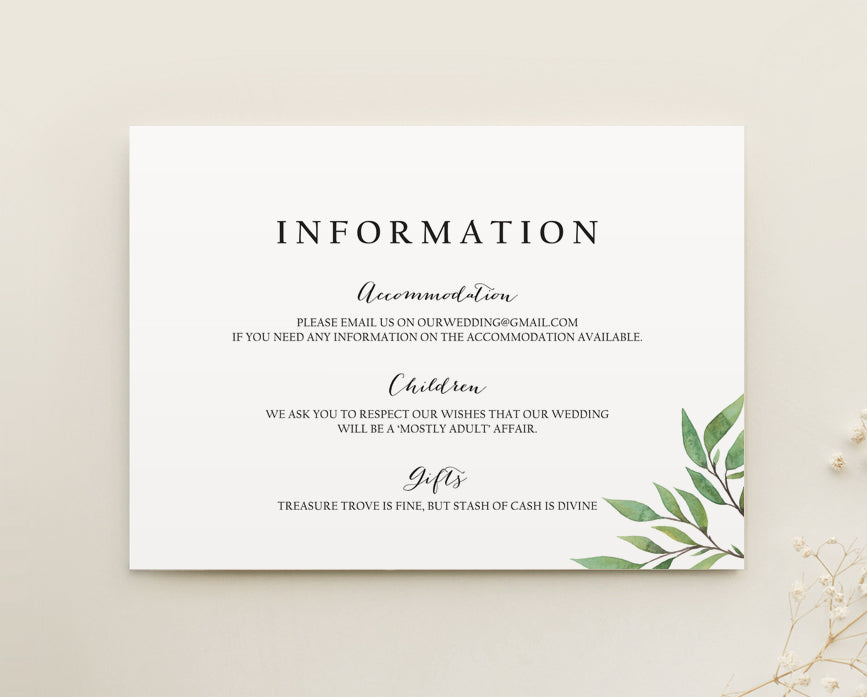 Greenery Wedding Details Card Printable Template