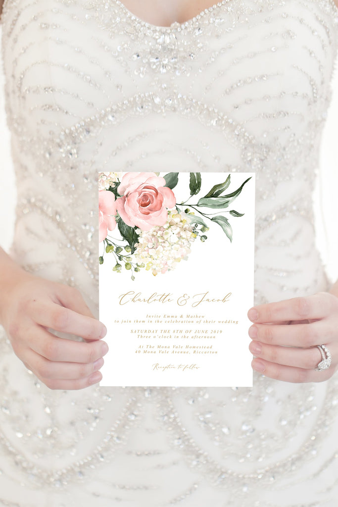 Blush Floral Greenery Hydrangea Wedding Invitation Printable Template Instant Download Templett PDF