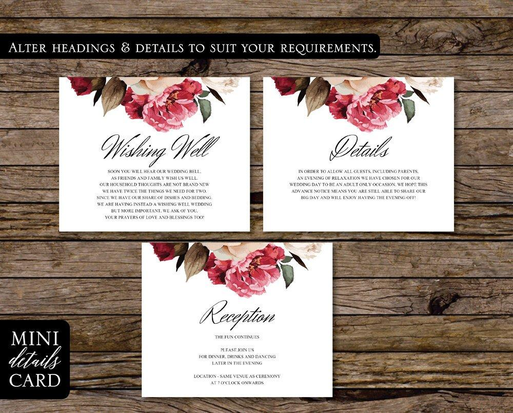 Burgundy Floral & Greenery Wedding Enclosure/Details Card Printable Template Instant Download PDF