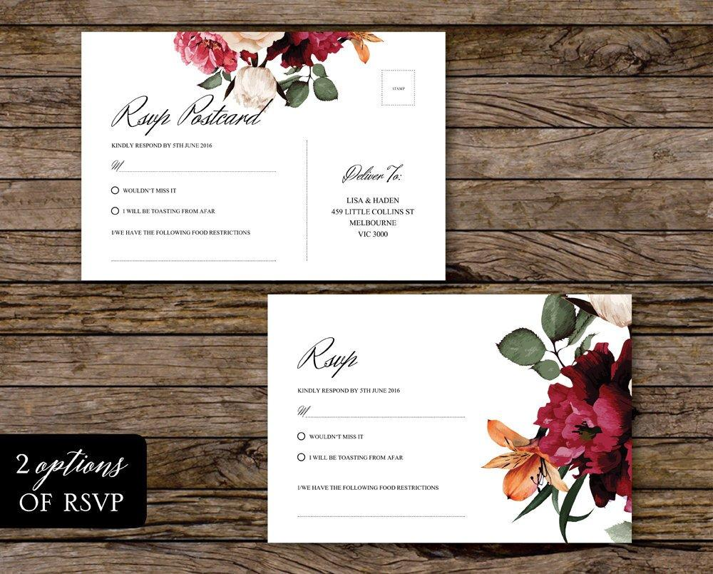 Burgundy Floral & Greenery Wedding Invitation Printable Template Instant Download PDF
