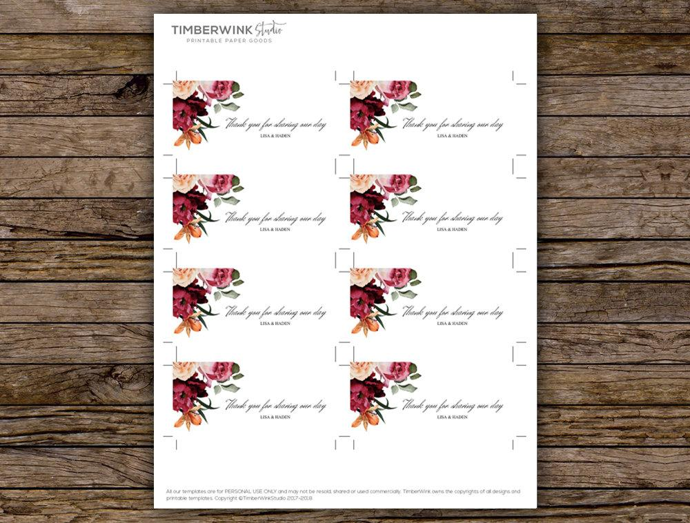 image regarding Printable Wedding Favor Tags called Burgundy Floral Marriage ceremony Like Tag Printable Template Fast