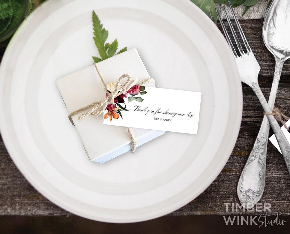 Burgundy Floral Wedding Favor Tag Printable Template Instant Download PDF