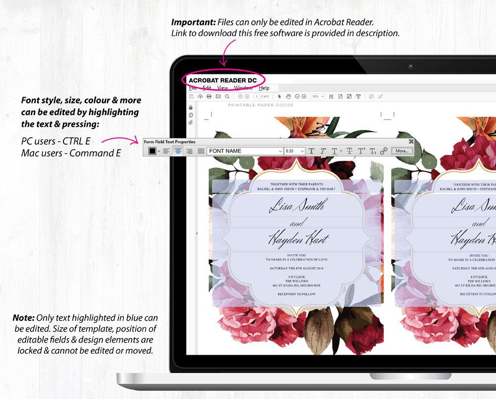 Burgundy Floral Wedding Invitation Suite Printable Template