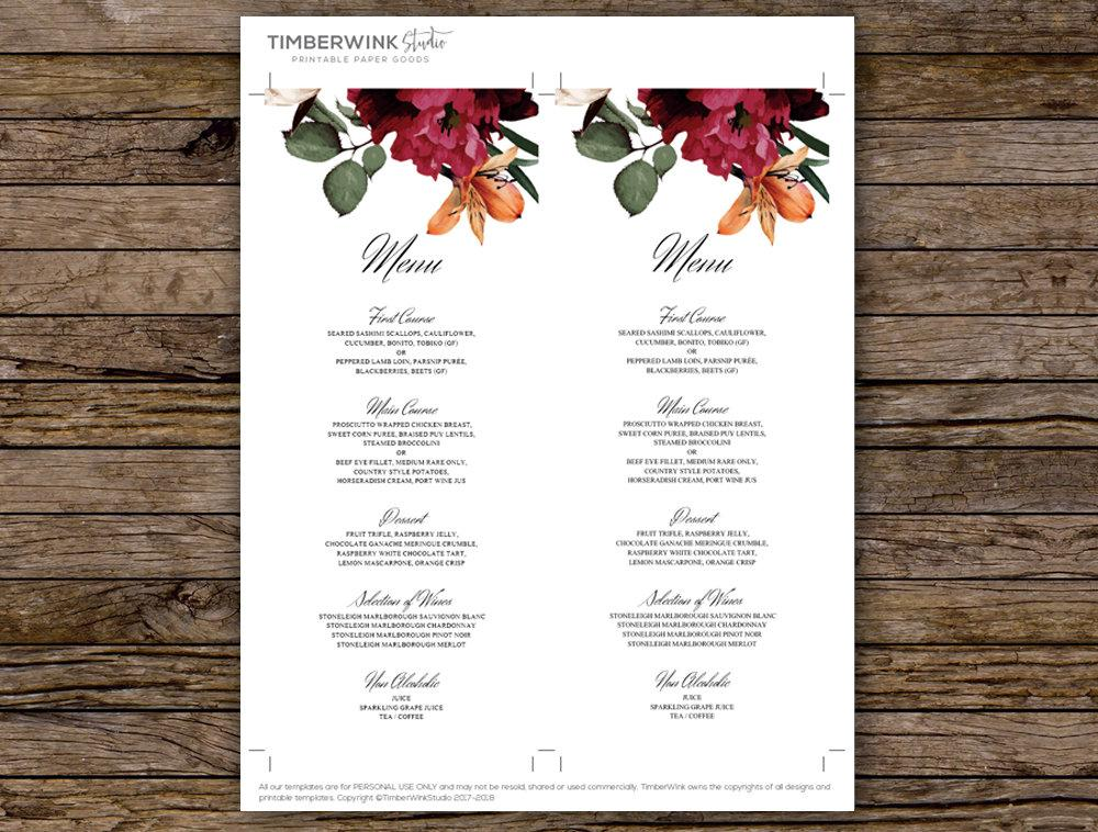 Burgundy Floral Wedding Menu Card Printable Template Instant Download PDF