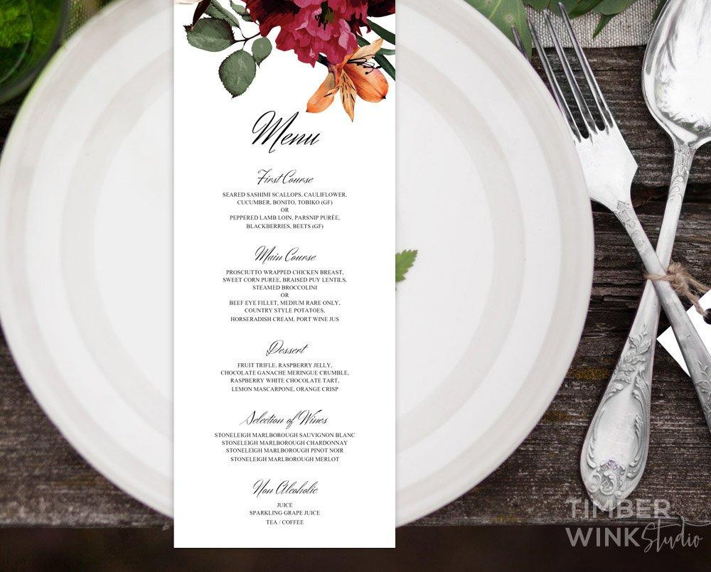 Burgundy Wedding Menu Printable Template