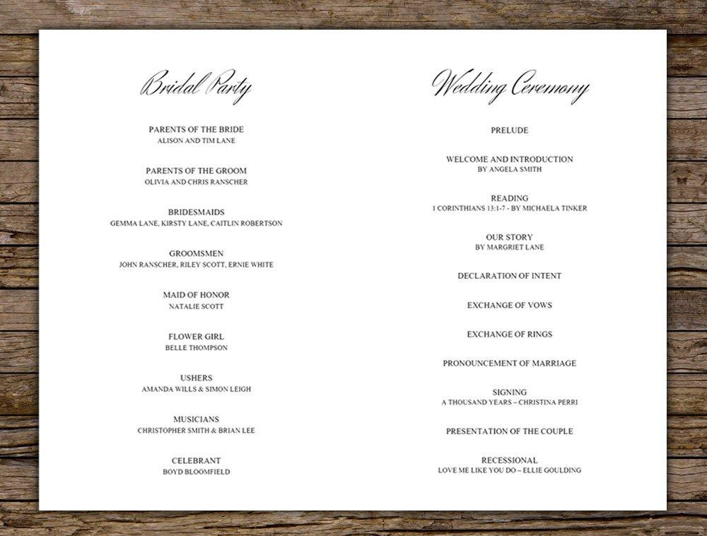 Burgundy Floral Wedding Program Printable Template Instant Download PDF