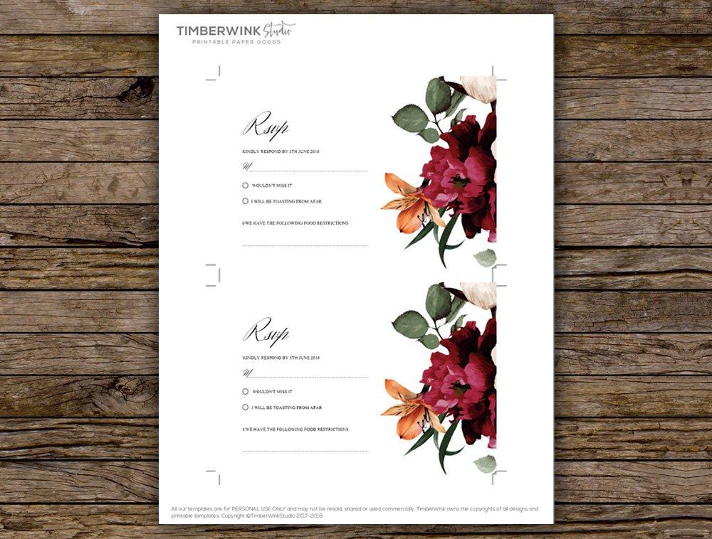 Burgundy Floral Wedding RSVP Card Printable Template Instant Download PDF