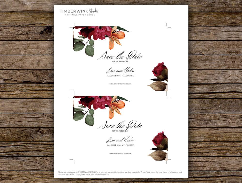 Burgundy Floral Wedding Save The Date Printable Template