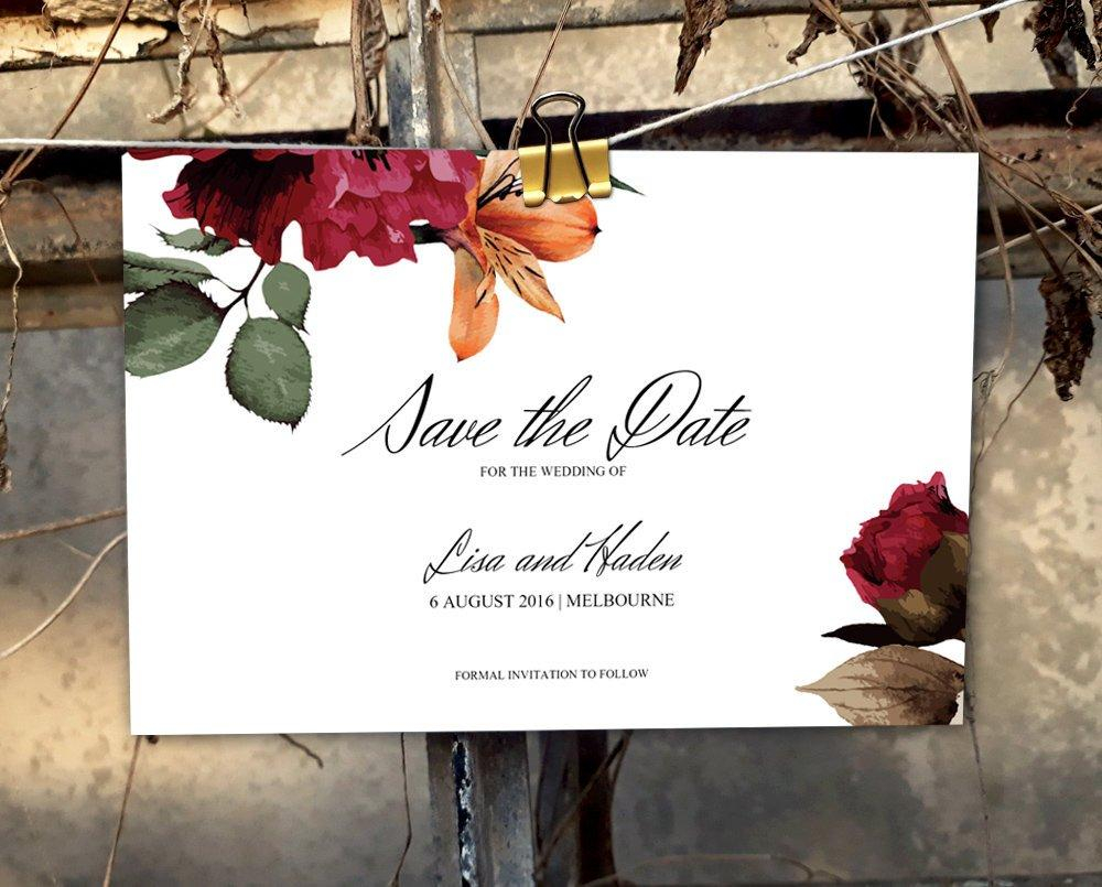 Burgundy Floral Wedding Save The Date Printable Template Instant Download PDF