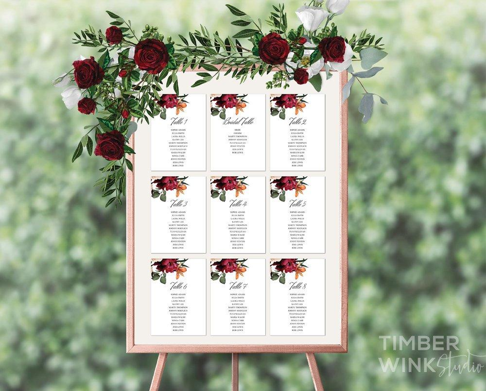 Burgundy Floral Wedding Seating Plan Printable Template Instant Download PDF