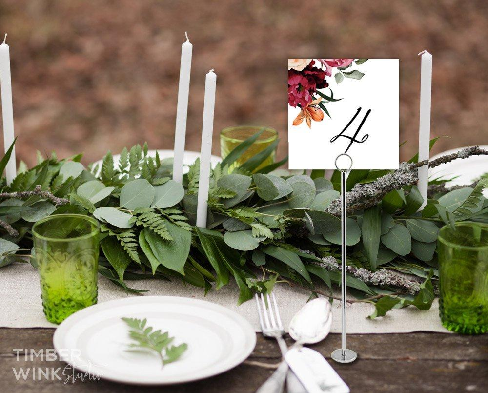 Burgundy Floral Wedding Table Number Printable Template Instant Download PDF