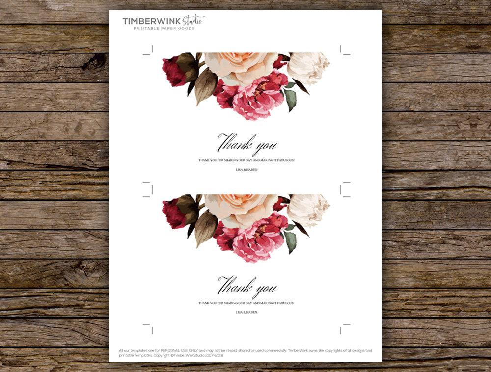Burgundy Floral Wedding Thank You Card Printable Template Instant Download PDF