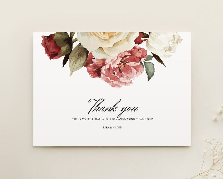 Burgundy Floral Wedding Thank You Card Printable Template