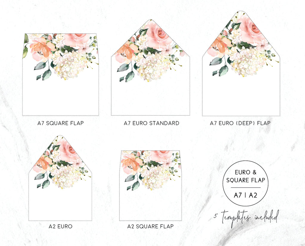 Blush Floral Greenery Hydrangea Envelope Liners Printable Template Instant Download Templett PDF