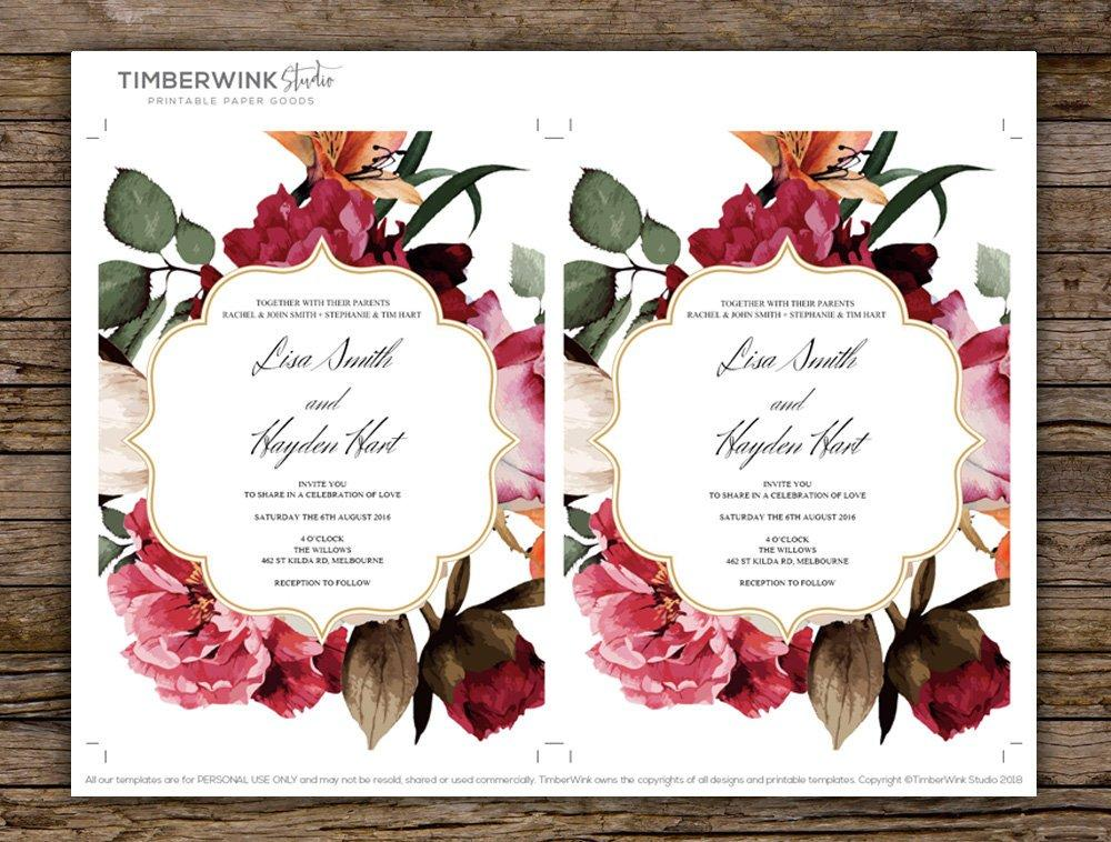 Floral Burgundy & Greenery Wedding Invitation Printable Template Instant Download PDF