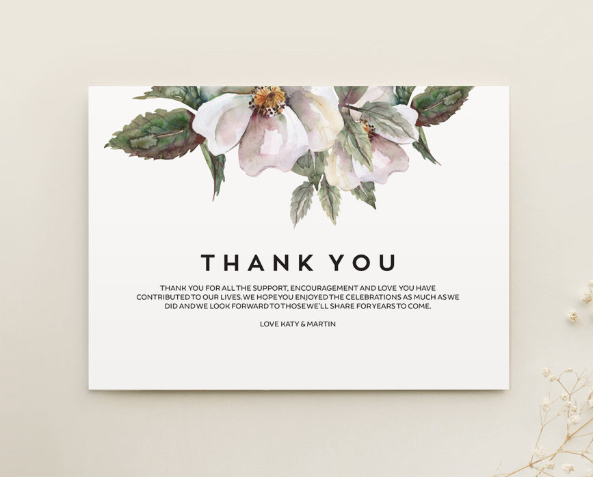Magnolia Wedding Thank You Card Printable Template