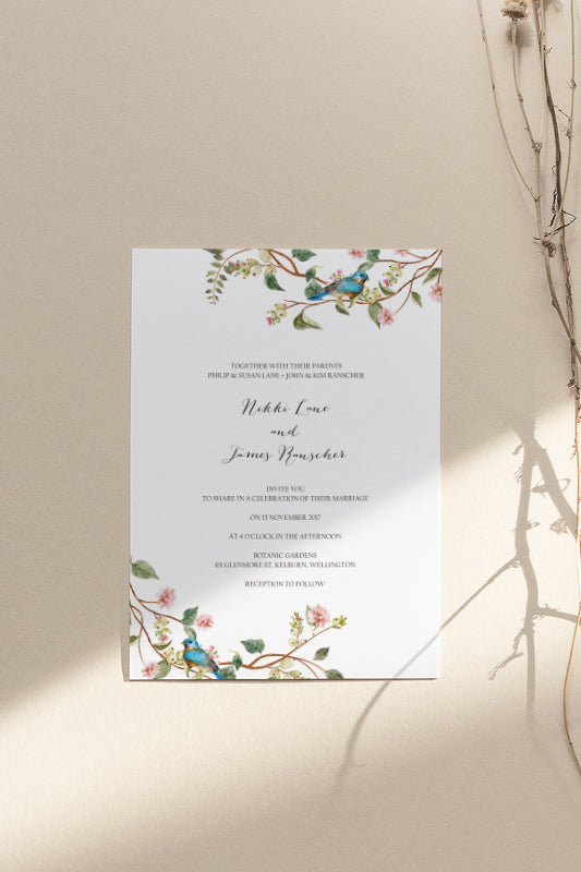 Watercolour Floral Wedding Invitation Printable Template