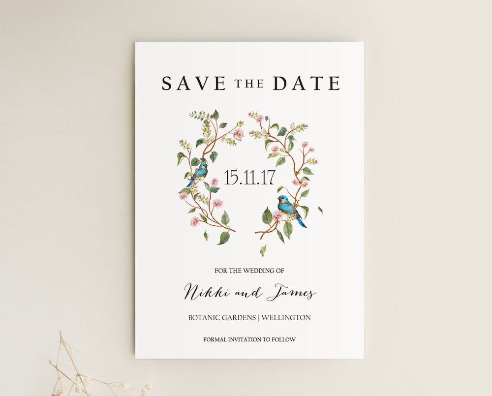 Floral Wedding Save The Date Card Printable Template