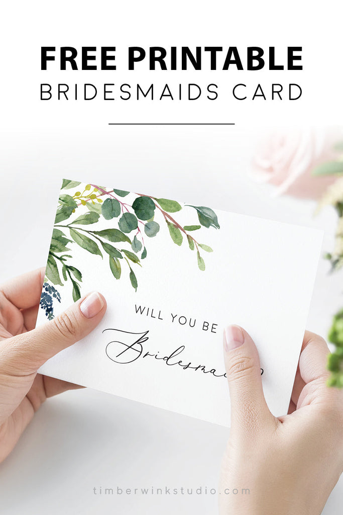 Free Printable DIY Bridesmaids Card Template Download PDF