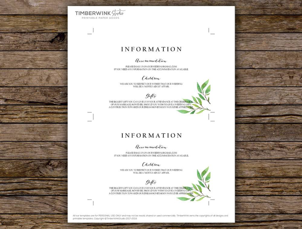 Green Leaf Botanical Wedding Enclosure/Details Card Printable Template Instant Download PDF