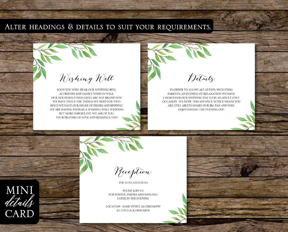 Green Leaf Botanical Wedding Enclosure/Info Card Printable Template Instant Download PDF