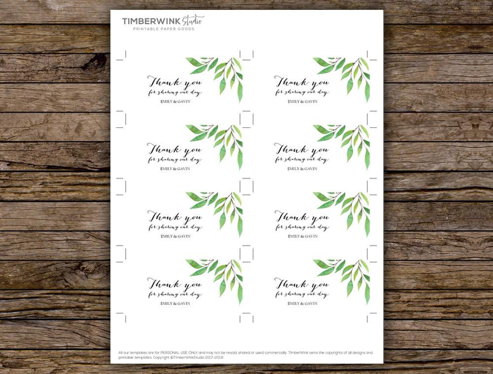 Green Leaf Botanical Wedding Favor Tag Printable Template Instant Download PDF
