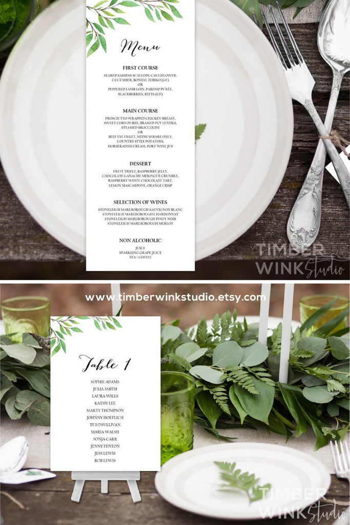Green Leaf Botanical Wedding Menu Printable Template Instant Download PDF