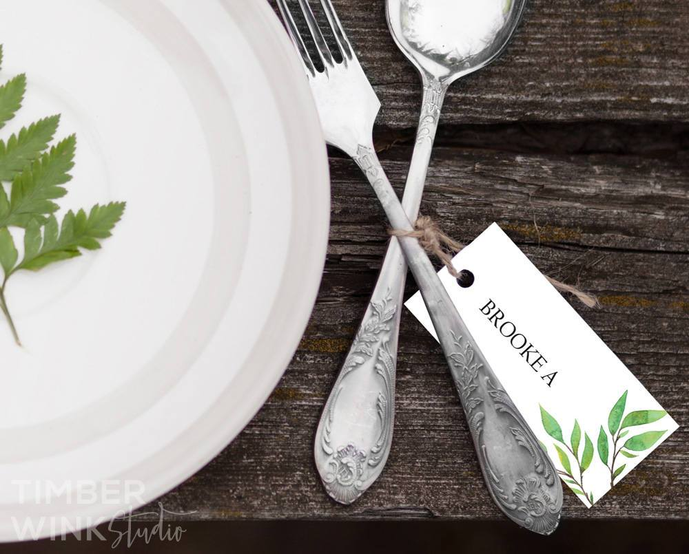 Green Leaf Botanical Wedding Place Card Printable Template Instant Download PDF