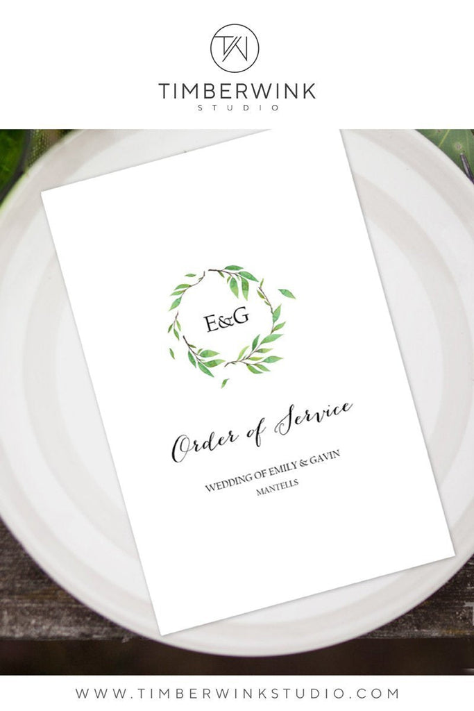 Green Leaf Botanical Wedding Program Printable Template Instant Download PDF
