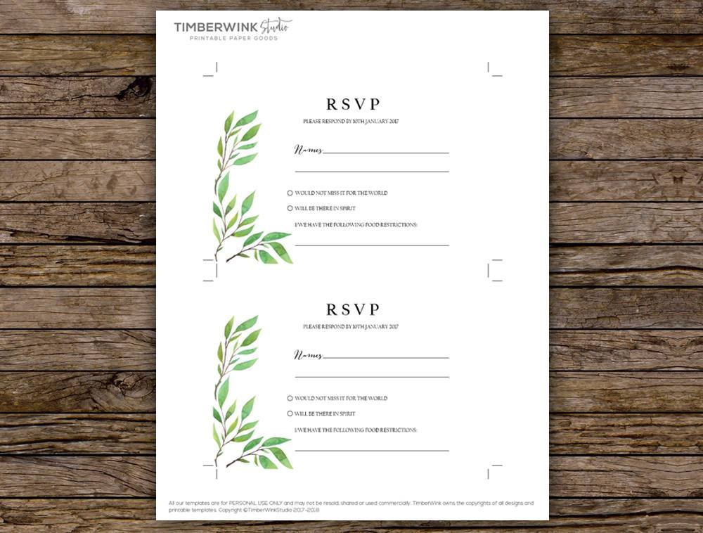 Green Leaf Botanical Wedding RSVP Card Printable Template Instant Download PDF