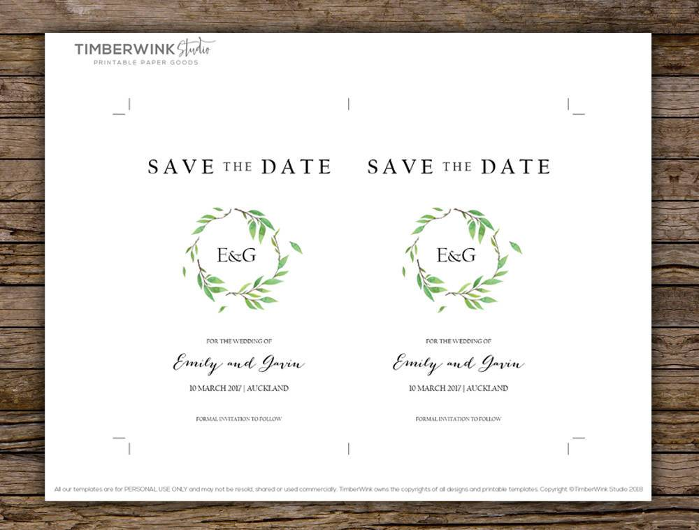 Green Leaf Botanical Wedding Save The Date Card Printable Template Instant Download PDF