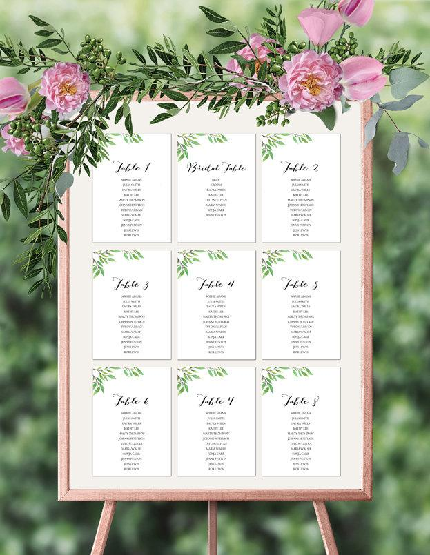 Green Leaf Botanical Wedding Seating Plan Printable Template Instant Download PDF