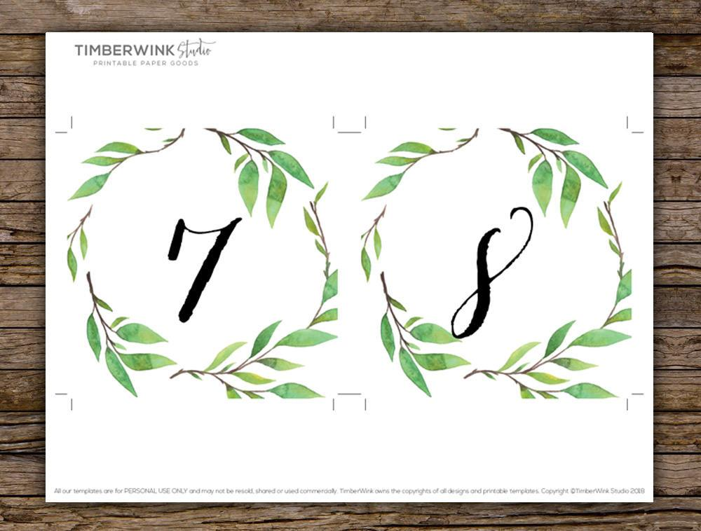 Green Leaf Botanical Wedding Table Number Card Printable Template Instant Download PDF